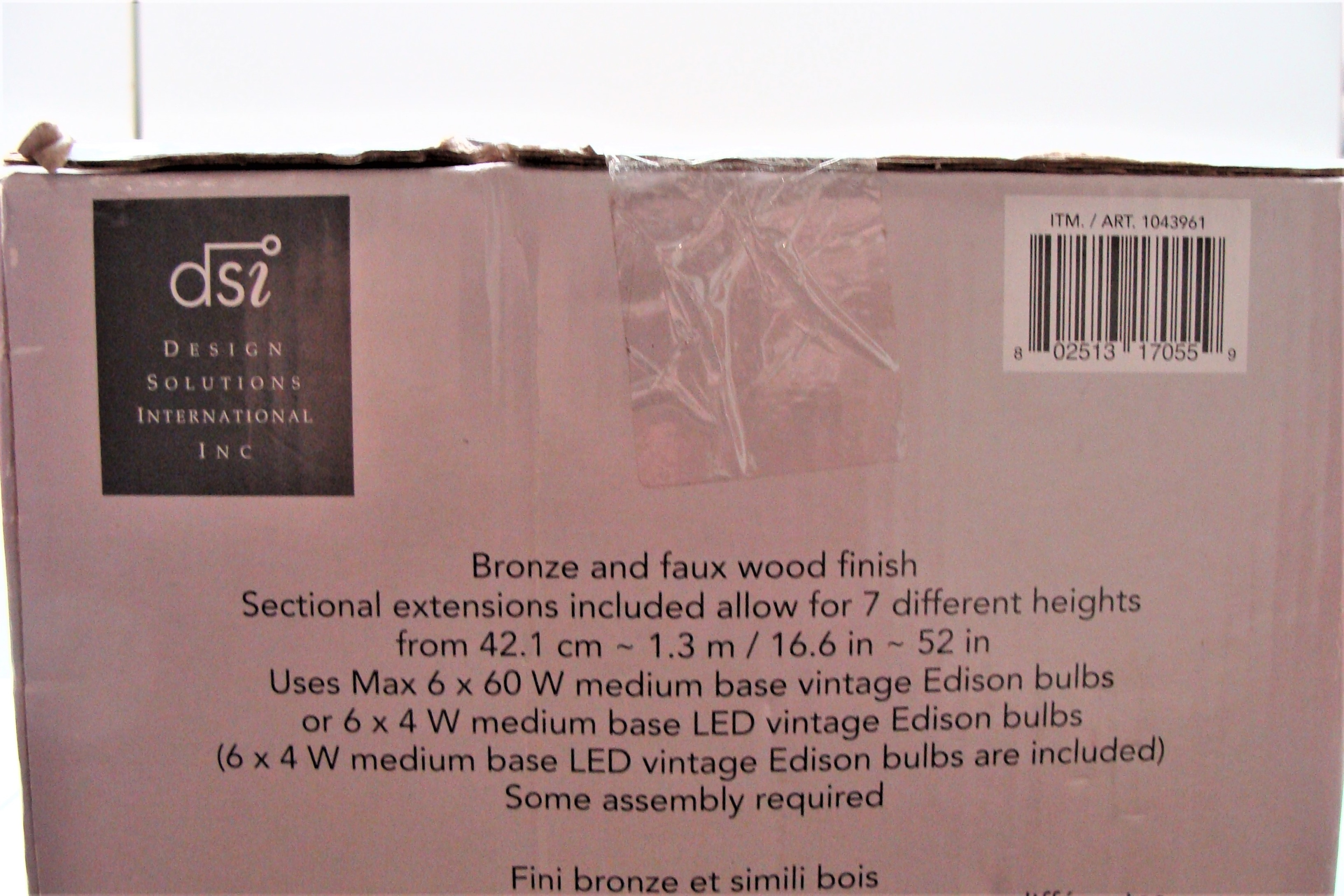 6 Light Led Chandelier Dsi Bronze Faux Wood Finish New Light Fixture