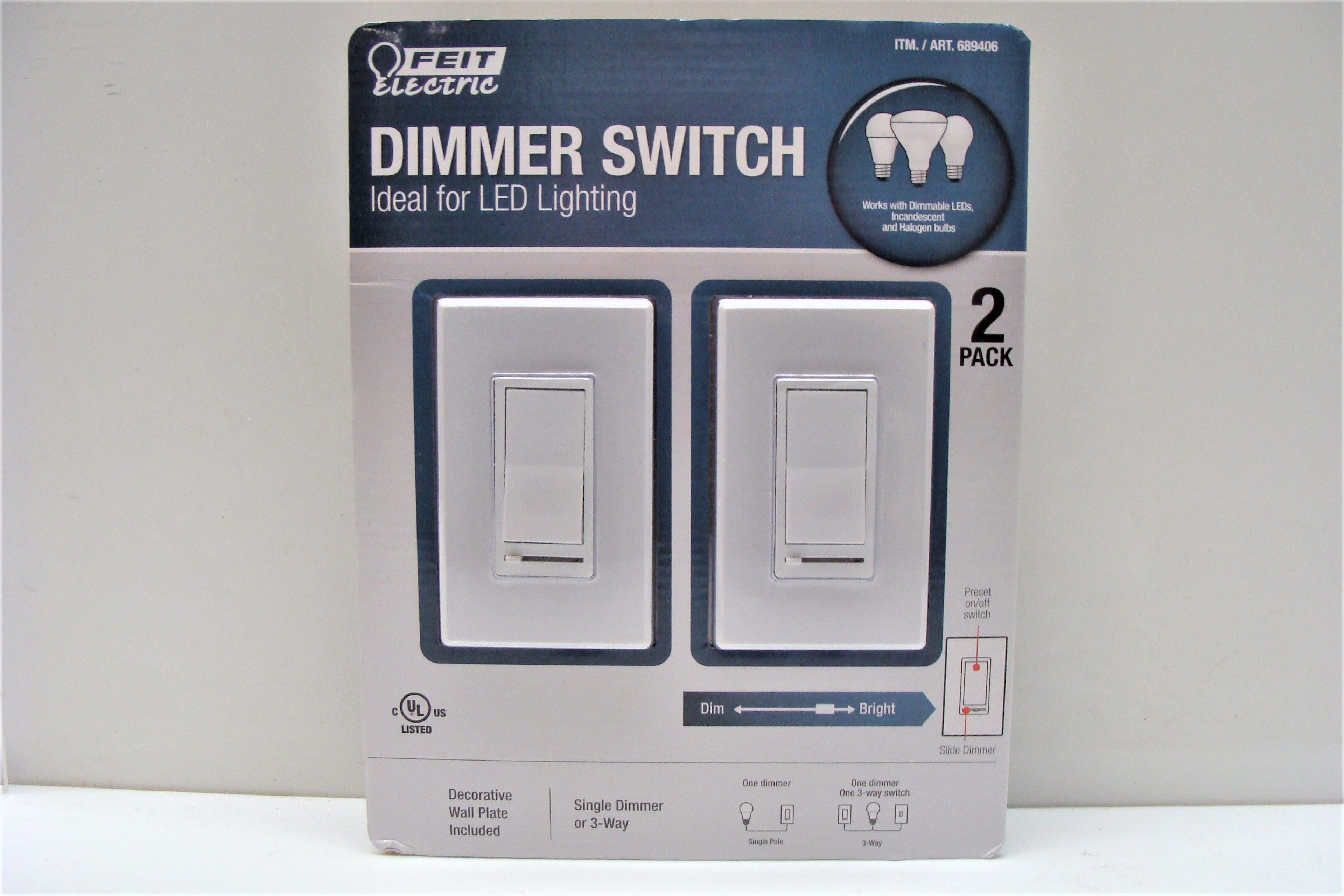 Dimmer Switch By Feit Electric Led Lighting 2 Pack White New 3 Way Light